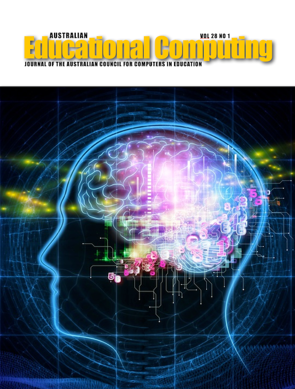 Australian Educational Computing 2013 Volume 28 Number 1 Cover image of a digital brain