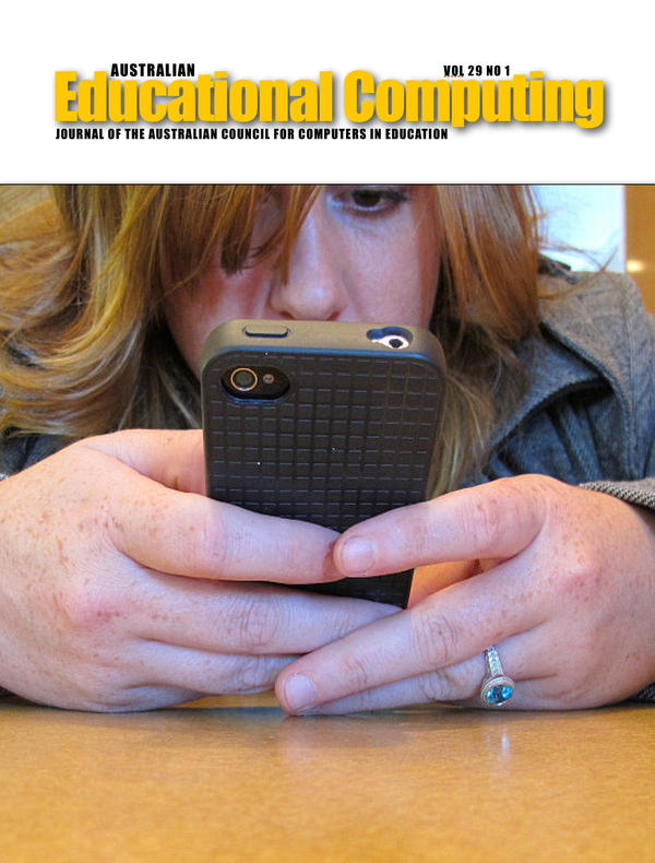Australian Educational Computing 2014 Volume 28 Number 1 Cover image of a mobile phone use